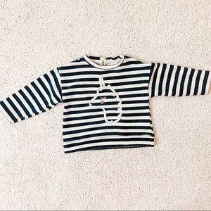 Zara baby Unicorn sweatshirt w stripes 9/12 months